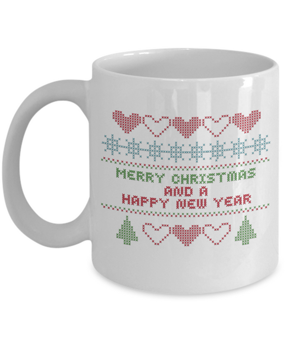 Cross Stitch Christmas Sampler Ceramic Mug - 11 or 15 oz cup