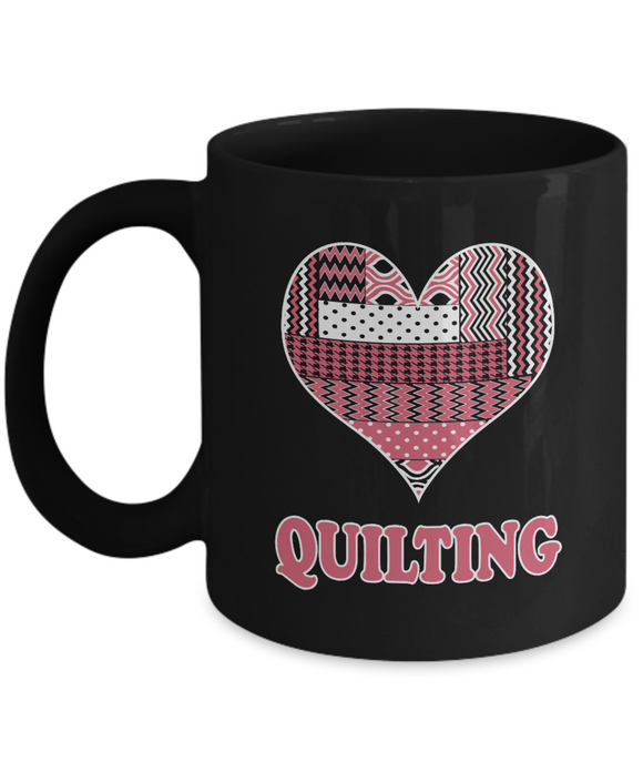 Heart Quilting Mug (black) 11 oz - Crafter4Life - 1