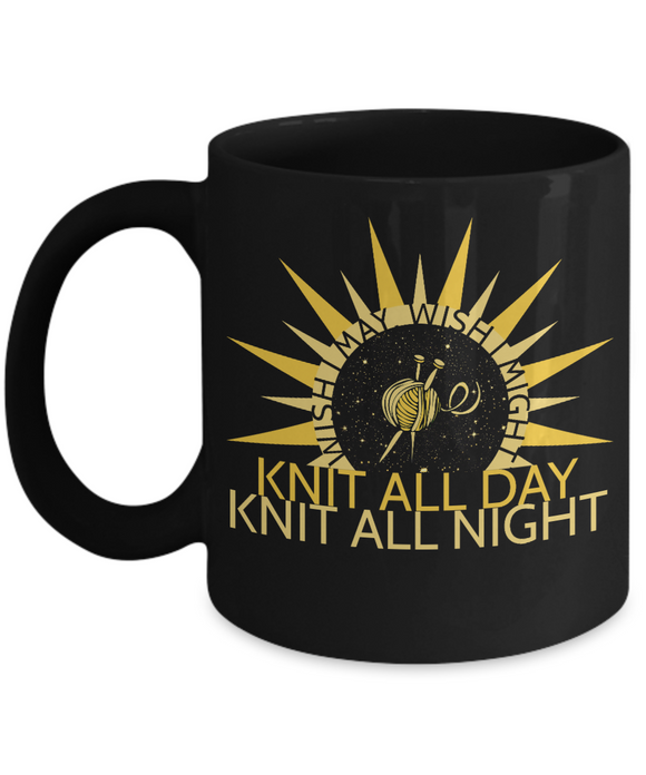 Wish I May Knit Mug 11 oz black
