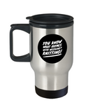 Rhymes With Weekend - Knitting Stainless Steel Travel Mug