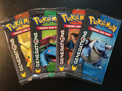 4x Pokemon Generations Sealed Booster Packs - NEVER Weighed