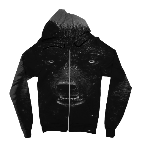 Black Wolf Zip Up Hoodie