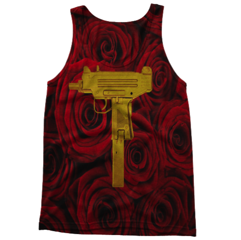 Red Roses and Gold Uzi's Tanktop