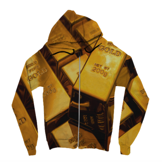 Gold Bars Zip Up Hoodie