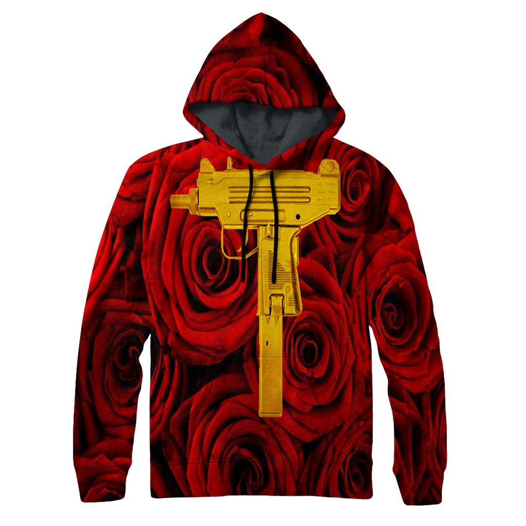 Red Roses & Gold Uzi's Hoodie