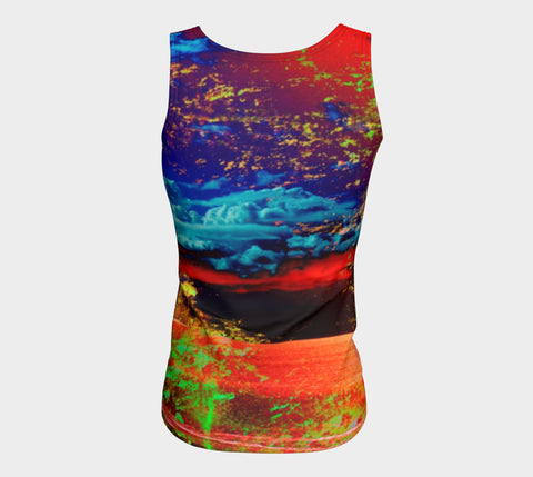 Electric Ocean - Long Tank Top-Fitted Tank Top (Long)-Fate Designs-Fate Designs