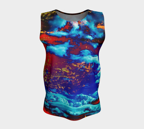 Electric Ocean - Loose Tank Long-Loose Tank Top (Long)-Fate Designs-Fate Designs
