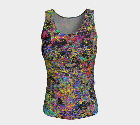 Particle Flash Dance - Long Tank Top-Fitted Tank Top (Long)-Fate Designs-Fate Designs