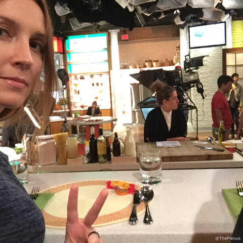 ThePieous (Jessica Leigh Clark-Bojin) on the set of the CHEW