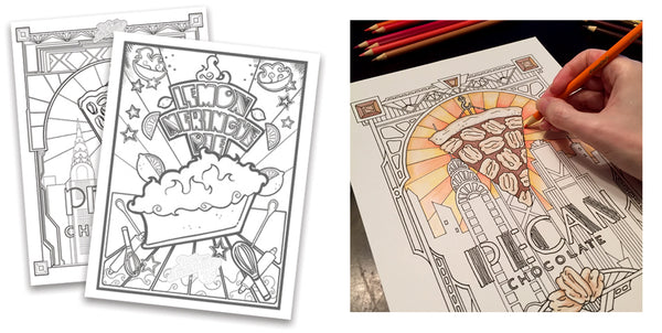 Pies are Awesome colouring sheets