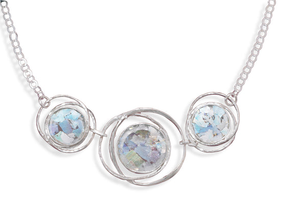 "17"" Abstract Circle Roman Glass Necklace"