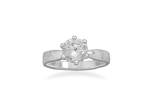 7mm Solitaire CZ Ring