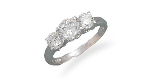 Polished Sterling Silver Triple CZ Ring