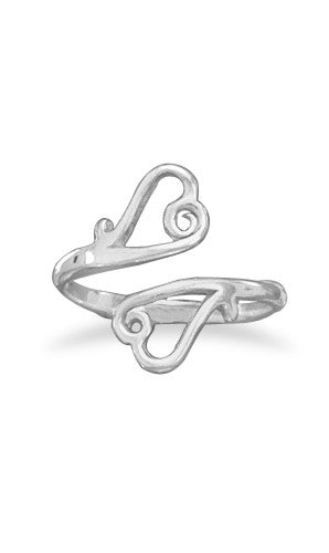 Adjustable Ring with Open Heart Ends