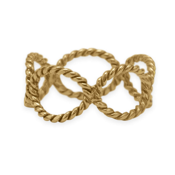 14 Karat Gold Plated Brass Rope Link Ring