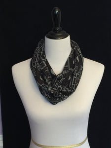 Black, Brown & Heather Gray Petite Infinity Scarf