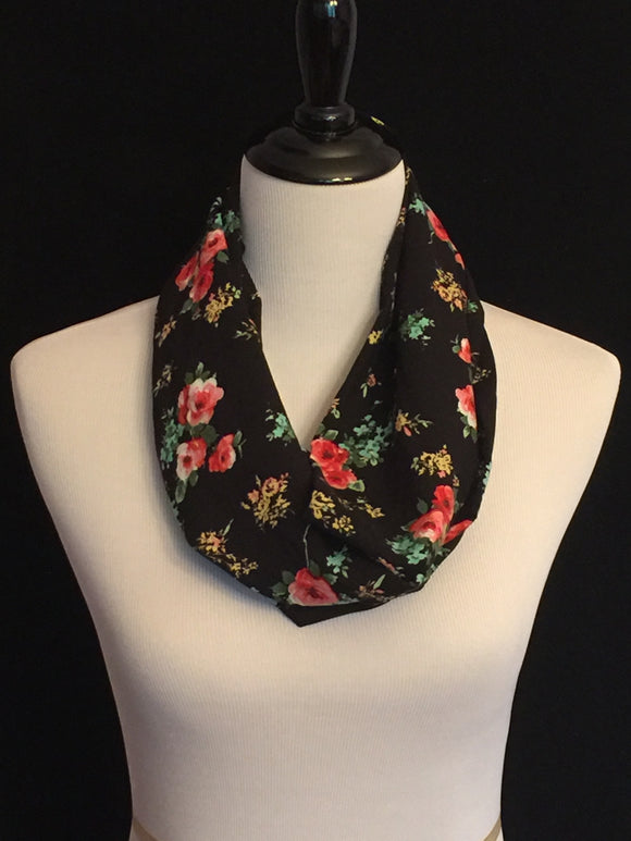 Black with Light Coral Flowers Petite Infinity Scarf