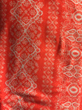 Neon Coral Henna Rows Petite Infinity Scarf