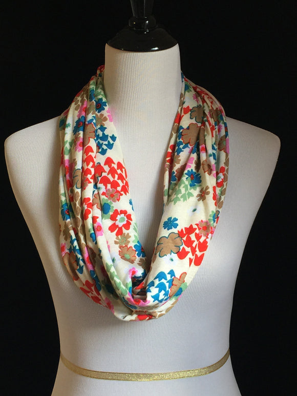 Bright Retro Floral on Cream Petite Scarf