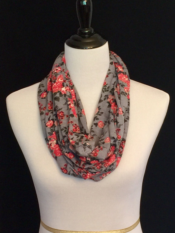 Coral & Peach Floral on Slate Gray