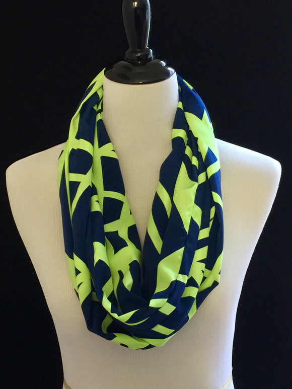 Navy Blue with Neon Green Lines