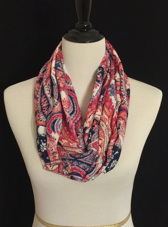 Pink, Navy Blue, Coral & Cream Paisley