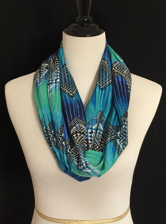 Blue, Green, Black & White Aztec Design