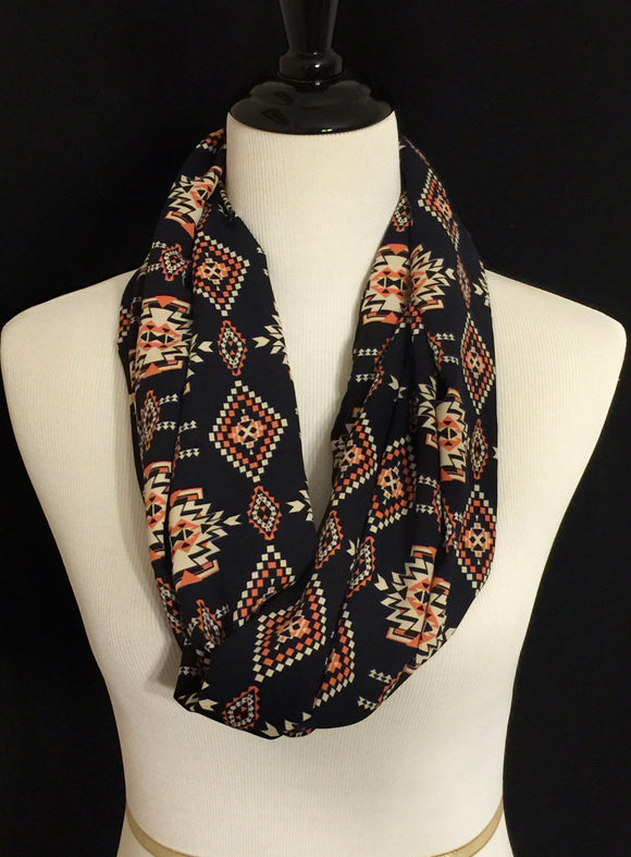Navy Blue, Beige & Coral Aztec Design Petite Infinity Scarf