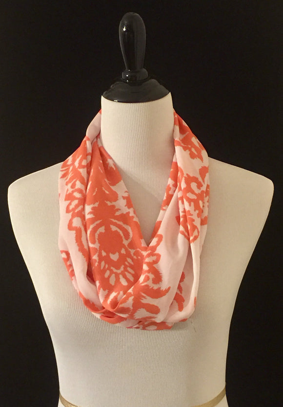 Coral & White Paisley Petite Infinity Scarf
