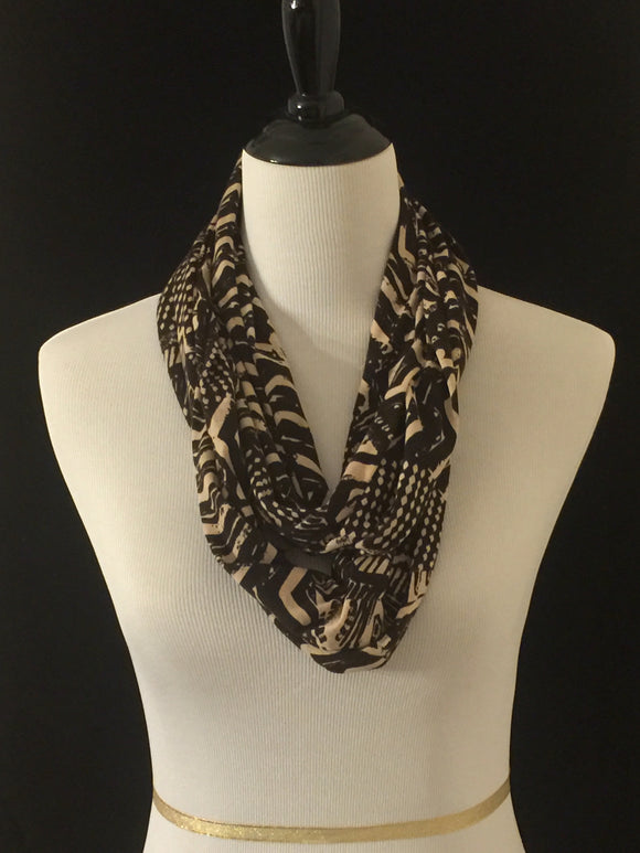 Brown & Tan Patterns Petite Infinity Scarf