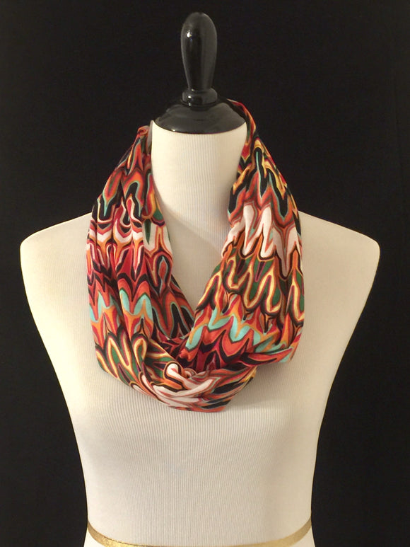 Multicolored Swirl Petite Infinity Scarf