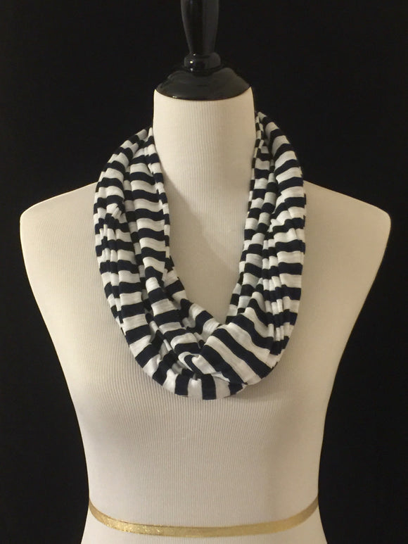 Navy Blue & White Stripes Petite Infinity Scarf