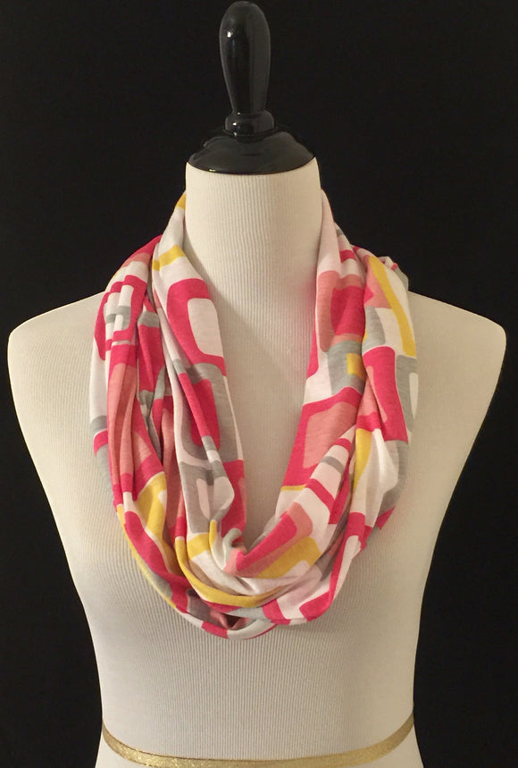 Pink, Yellow & Gray Squares Petite Infinity Scarf