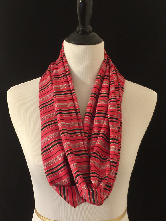 Red, Black & Silver Stripes Petite Infinity Scarf