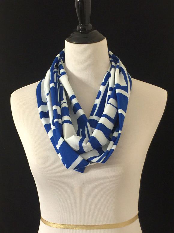 Royal Blue & White Squares Petite Infinity Scarf