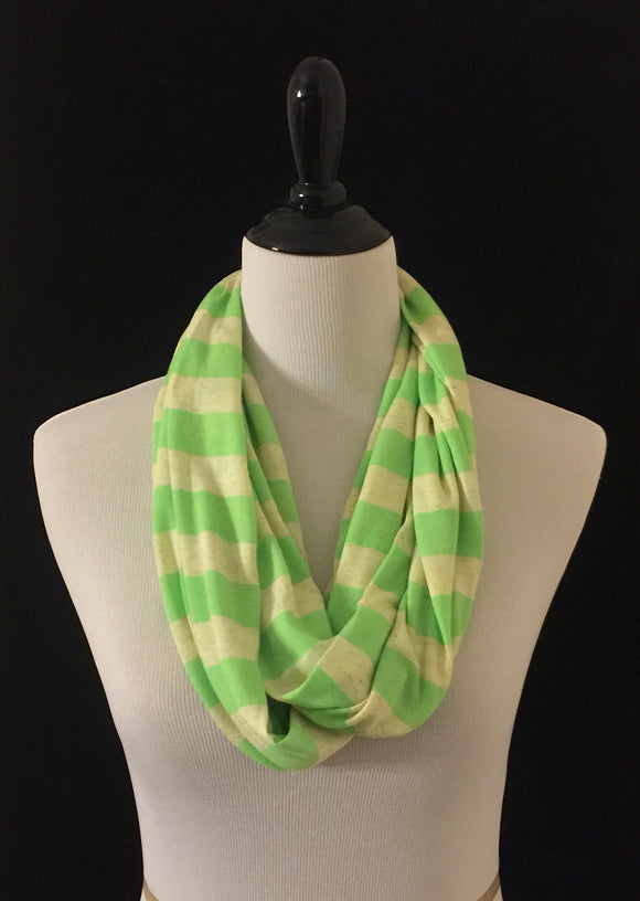 Lime Green & Tan Wide Stripes Petite Infinity Scarf