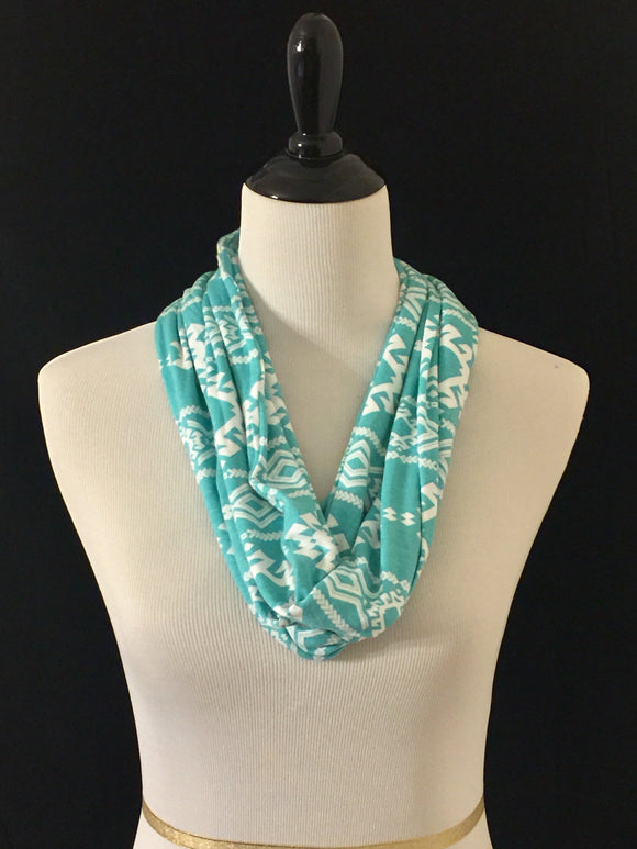 Aqua with White Aztec Pattern Petite Infinity Scarf