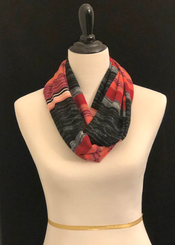 Red, Black, Mauve & Pink Stripes Petite Scarf