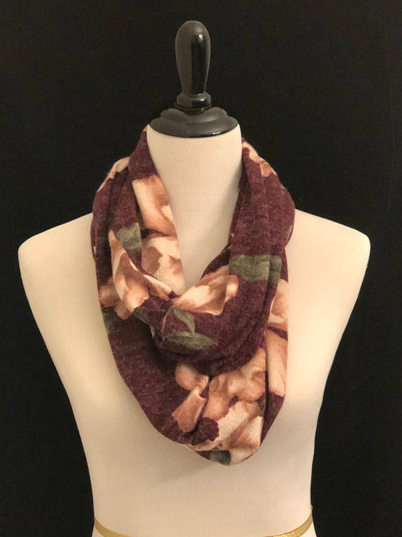 Burgundy with Mauve Flowers Petite Infinity Scarf