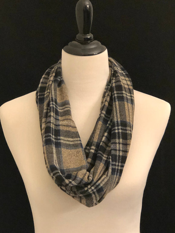 Marled Tan, Blue, Grey & Black Plaid