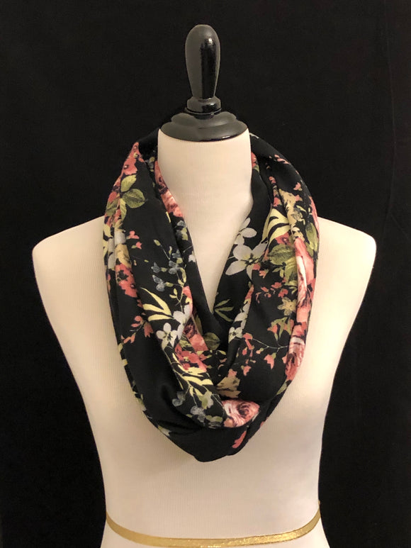 Black with Blush Flowers Petite Infinity Scarf
