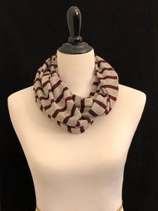 Marled Tan with Burgundy Stripes Petite Infinity Scarf