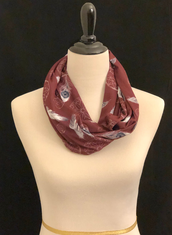 Burgundy with Dream Catchers Petite Infinity Scarf