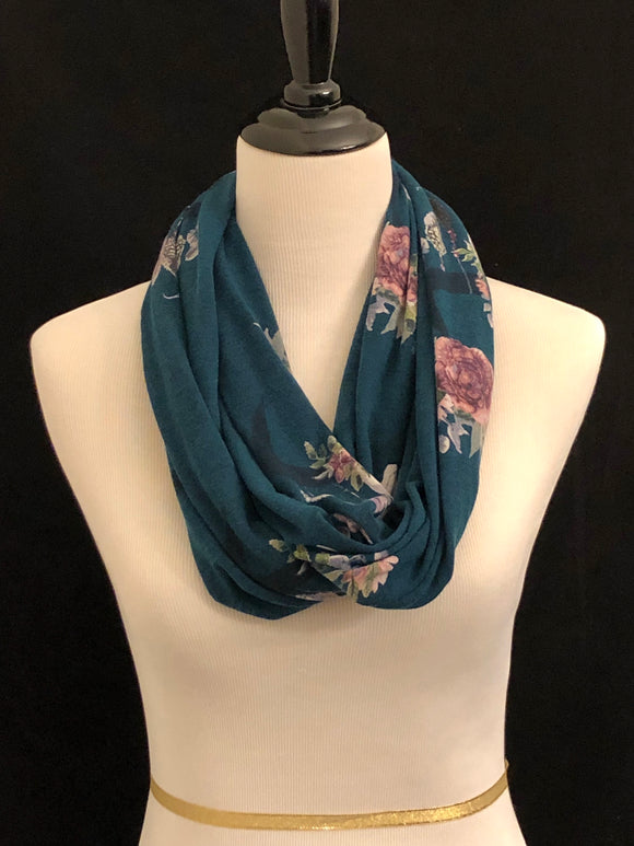 Hunter Green with Skulls and Flowers Petite Infinity Scarf