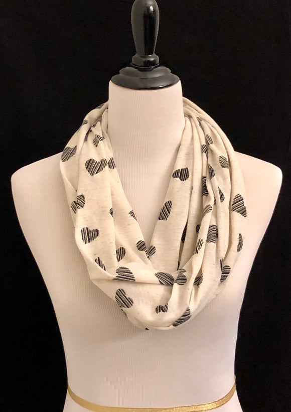 Cream with Stripped Black Hearts Petite Infinity