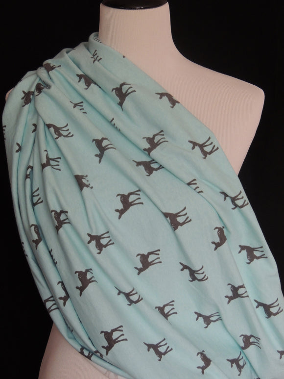 Aqua with Gray Fawn Nursing Scarf