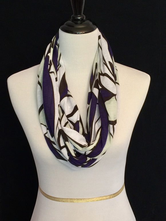 Black, White, Mint Green & Purple Geometric Shape Petite Infinity Scarf