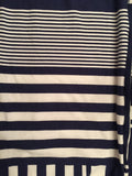 Navy Blue & White Striped Block