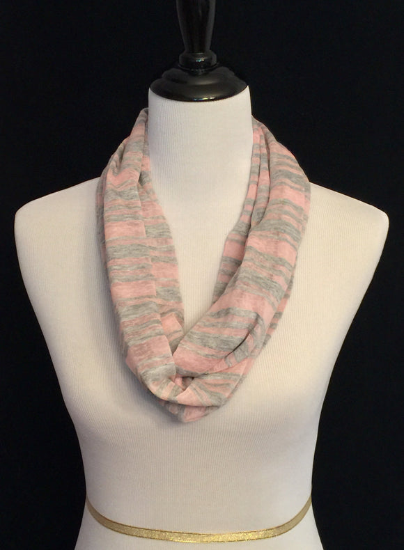Pink with Gray Stripes Petite Infinity Scarf