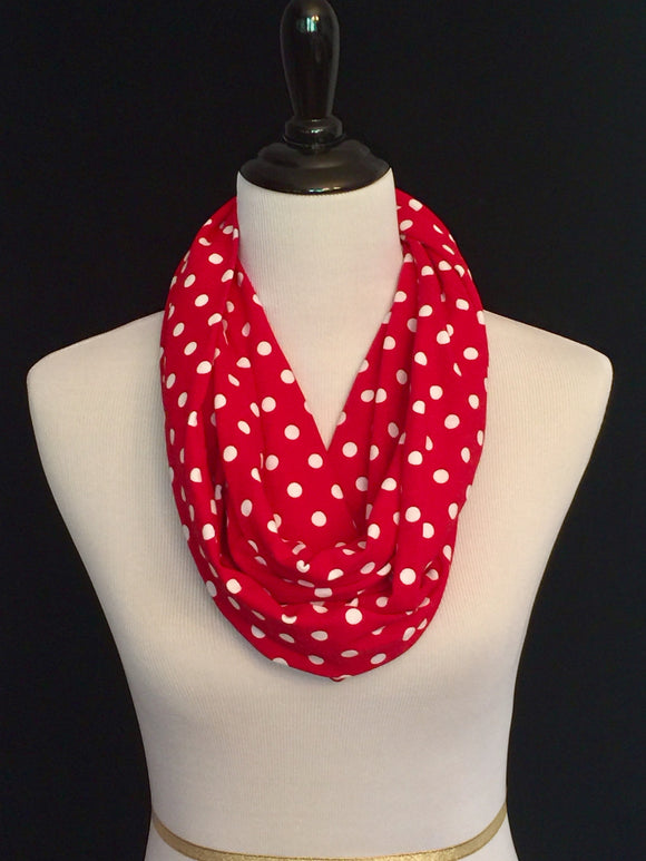 Red & White Polka Dots Petite Infinity Scarf